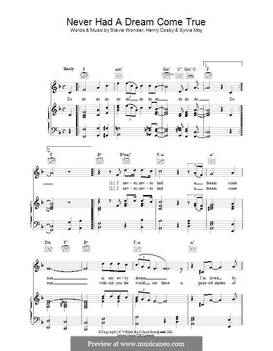 Never Had a Dream Come True (Stevie Wonder): Para vocais e piano (ou Guitarra) by Henry Cosby, Sylvia Moy