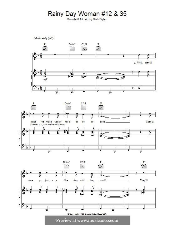 Rainy Day Woman No.12 & 35: Para vocais e piano (ou Guitarra) by Bob Dylan