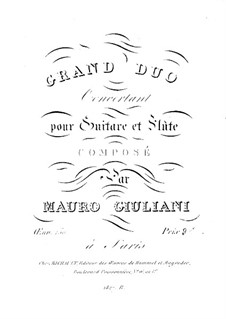 Grand Duo Concertante for Guitar and Flute, Op.130: Grand Duo Concertante for Guitar and Flute by Mauro Giuliani