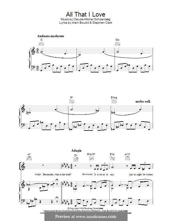 All That I Love: Para vocais e piano (ou Guitarra) by Claude-Michel Schönberg