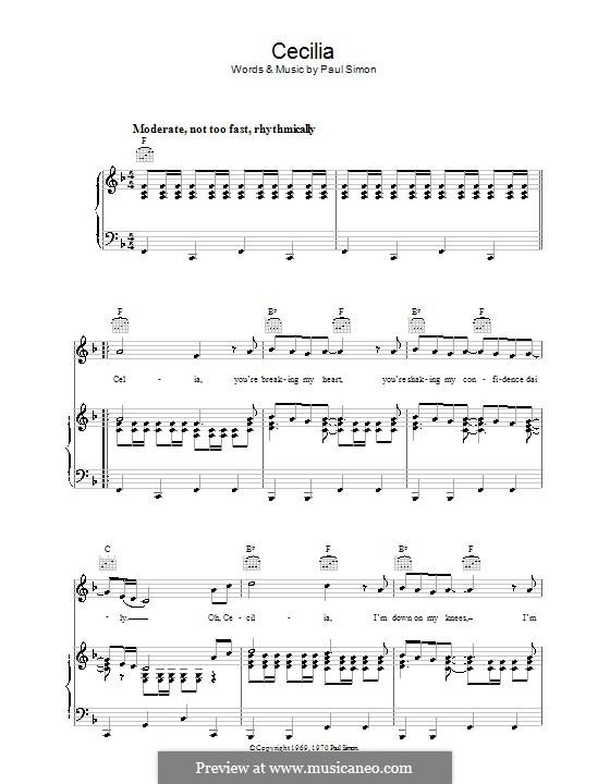 Cecilia (Simon & Garfunkel): Para vocais e piano (ou Guitarra) by Paul Simon
