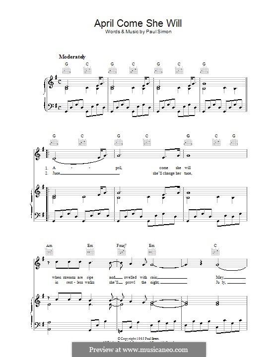 April Come She Will (Simon & Garfunkel): Para vocais e piano (ou Guitarra) by Paul Simon