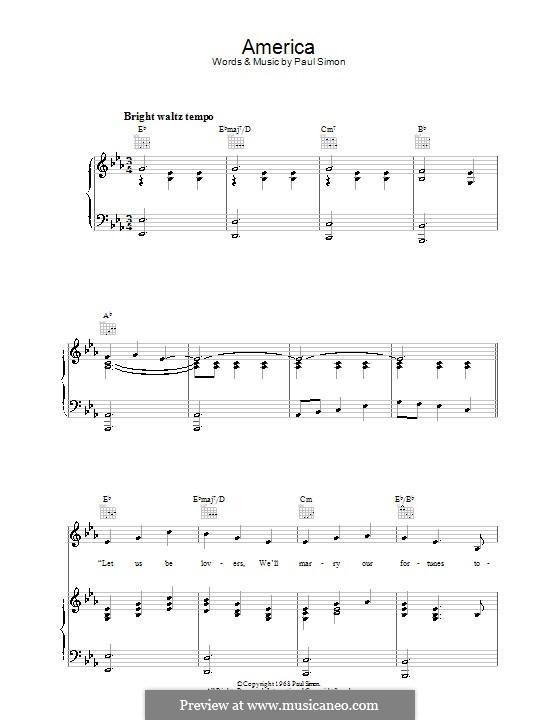 America (Simon & Garfunkel): Para vocais e piano (ou Guitarra) by Paul Simon