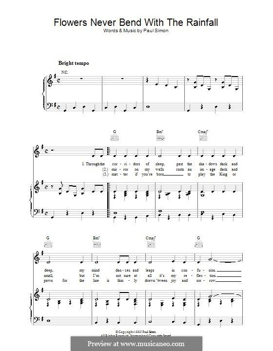 Flowers Never Bend with the Rainfall (Simon & Garfunkel): Para vocais e piano (ou Guitarra) by Paul Simon