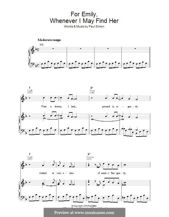 For Emily, Whenever I May Find Her (Simon & Garfunkel): Para vocais e piano (ou Guitarra) by Paul Simon