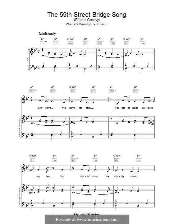 The 59th Street Bridge Song (Feelin' Groovy): Para vocais e piano (ou Guitarra) by Paul Simon