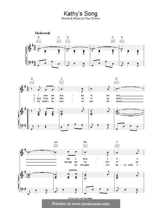 Kathy's Song (Simon & Garfunkel): Para vocais e piano (ou Guitarra) by Paul Simon