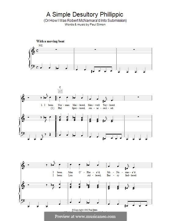 A Simple Desultory Philippic (Or How I Was Robert McNamara'd Into Submission): Para vocais e piano (ou Guitarra) by Paul Simon