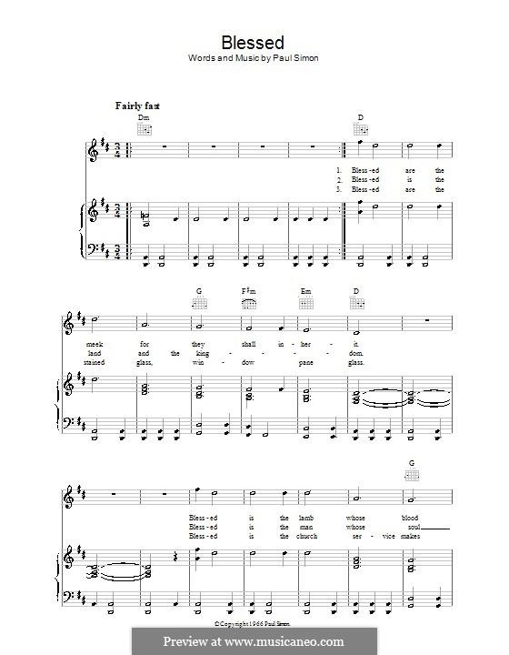 Blessed (Simon & Garfunkel): Para vocais e piano (ou Guitarra) by Paul Simon