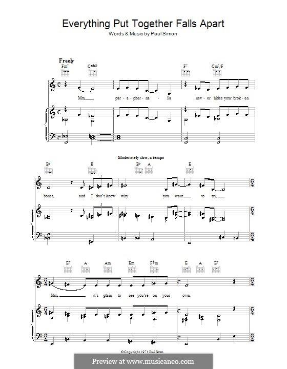 Everything Put Together Falls Apart: Para vocais e piano (ou Guitarra) by Paul Simon