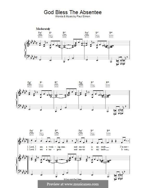 God Bless the Absentee: Para vocais e piano (ou Guitarra) by Paul Simon