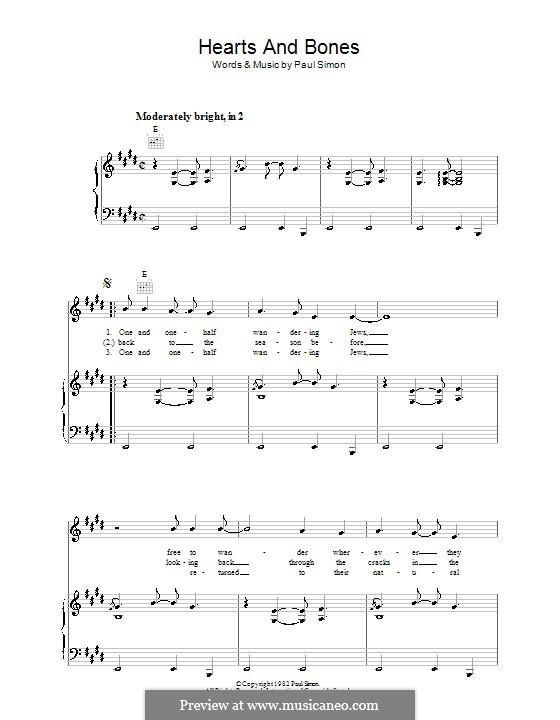 Hearts and Bones: Para vocais e piano (ou Guitarra) by Paul Simon