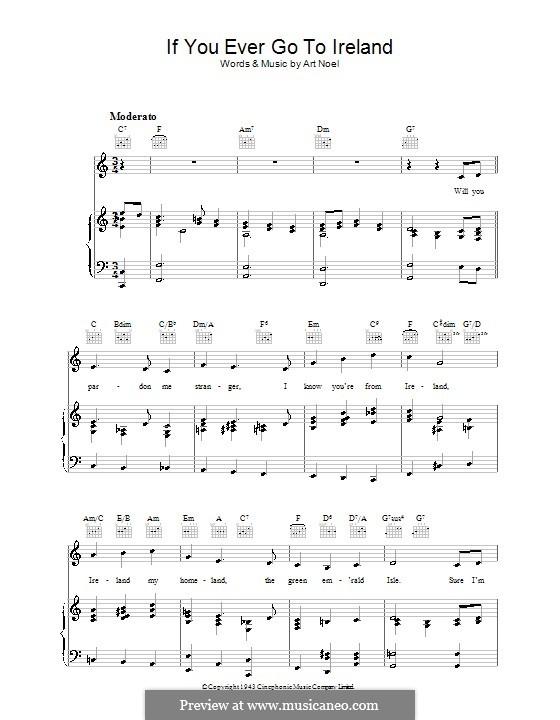 If You Ever Go To Ireland: Para vocais e piano (ou Guitarra) by Art Noel