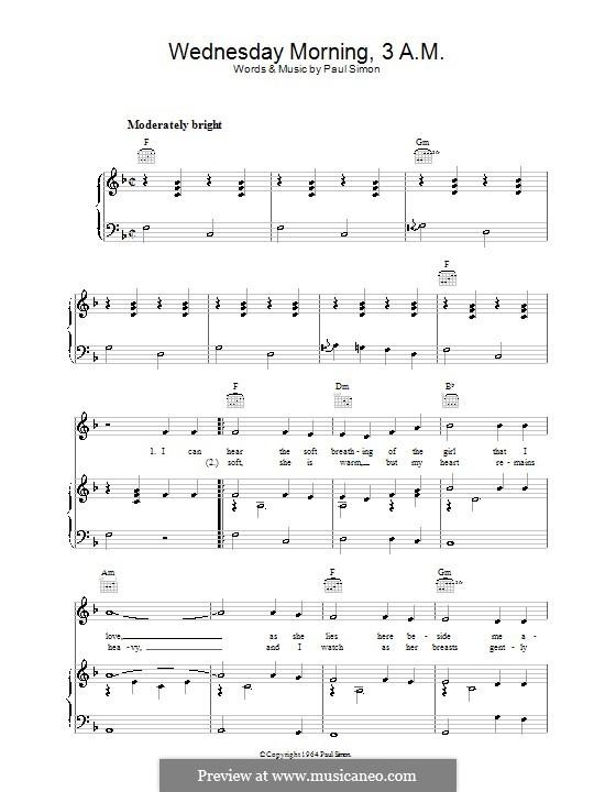 Wednesday Morning, 3 A.M. (Simon & Garfunkel): Para vocais e piano (ou Guitarra) by Paul Simon
