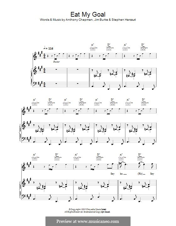 Eat My Goal (Collapsed Lung): Para vocais e piano (ou Guitarra) by Anthony Chapman, Jim Burke, Stephen Harcourt