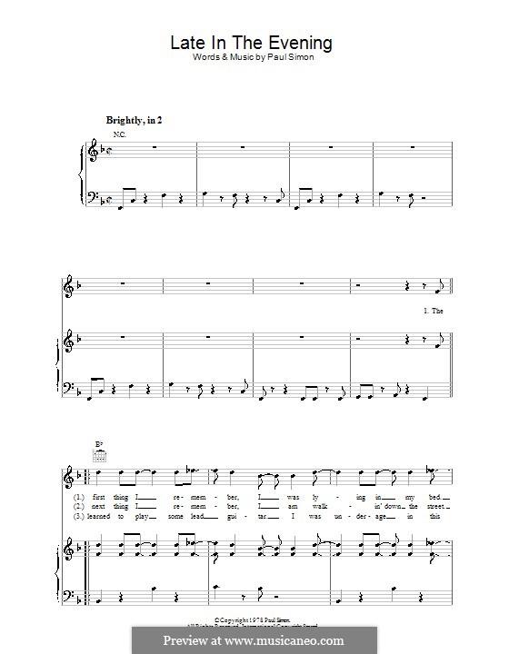 Late in the Evening: Para vocais e piano (ou Guitarra) by Paul Simon