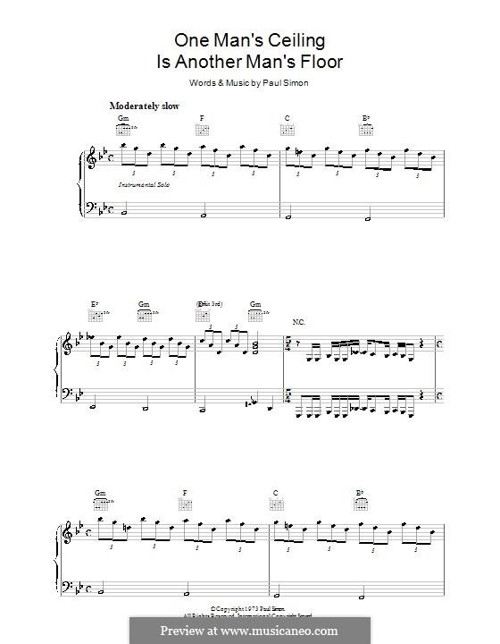 One Man's Ceiling Is Another Man's Floor: Para vocais e piano (ou Guitarra) by Paul Simon