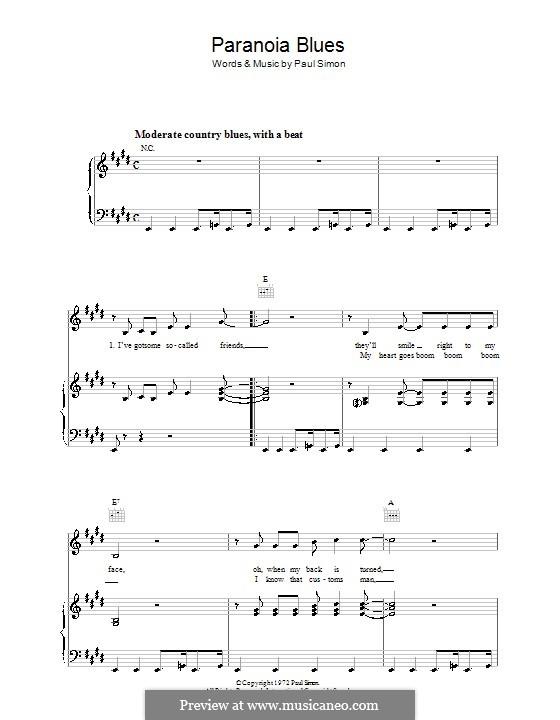 Paranoia Blues: Para vocais e piano (ou Guitarra) by Paul Simon
