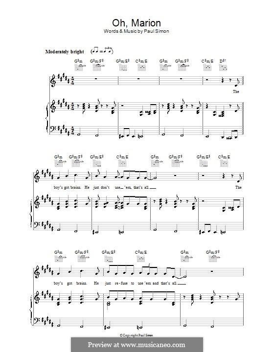 Oh, Marion: Para vocais e piano (ou Guitarra) by Paul Simon