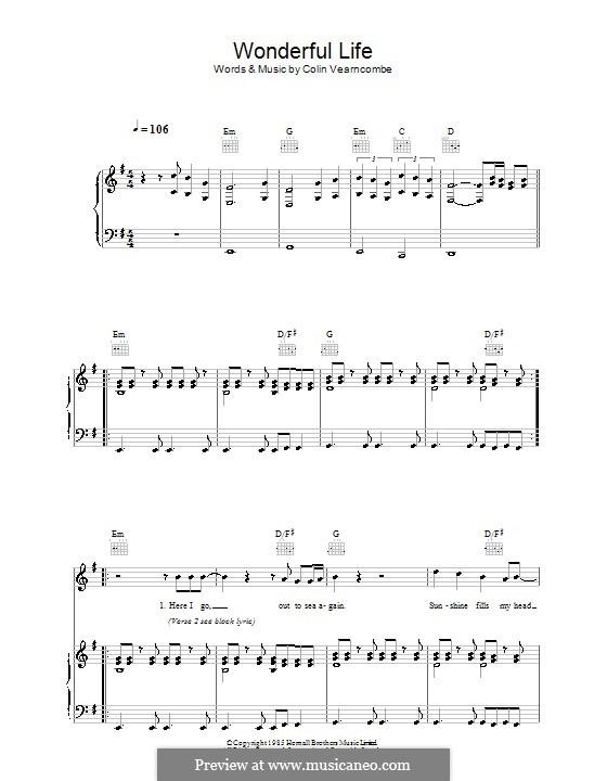 Wonderful Life (Black): Para vocais e piano (ou Guitarra) by Colin Vearncombe