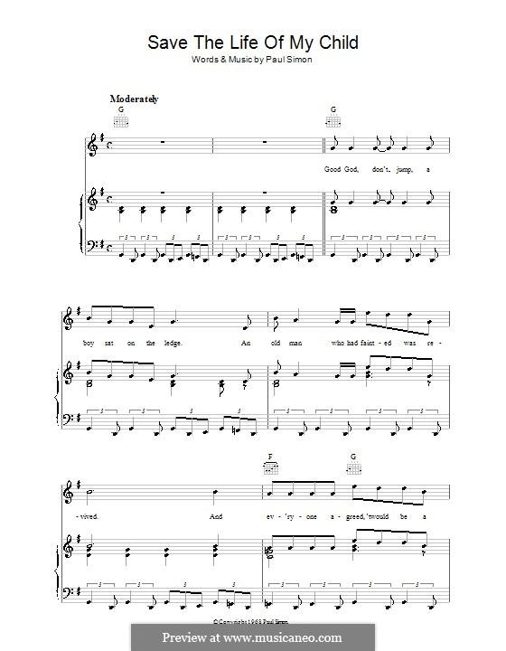 Save the Life of My Child (Simon & Garfunkel): Para vocais e piano (ou Guitarra) by Paul Simon