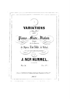 Variations on Romance from 'Une folie' by Méhul, Op.14: Variations on Romance from 'Une folie' by Méhul by Johann Nepomuk Hummel