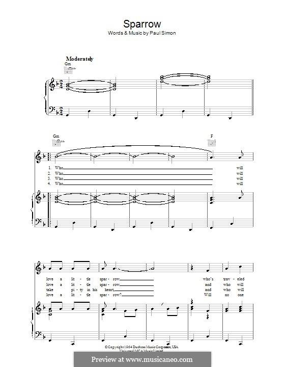 Sparrow (Simon & Garfunkel): Para vocais e piano (ou Guitarra) by Paul Simon