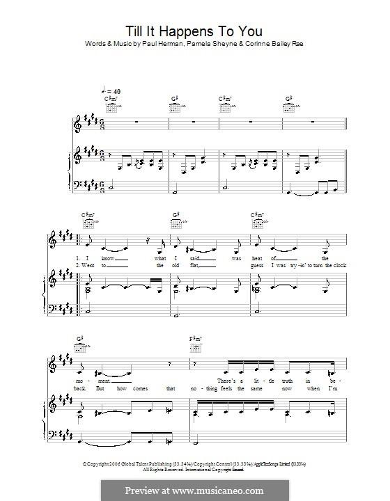 Till It Happens To You (Corinne Bailey Rae): Para vocais e piano (ou Guitarra) by Pamela Sheyne, Paul Herman