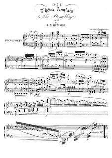 Variations on English Theme 'The Ploughboy': Variations on English Theme 'The Ploughboy' by Johann Nepomuk Hummel