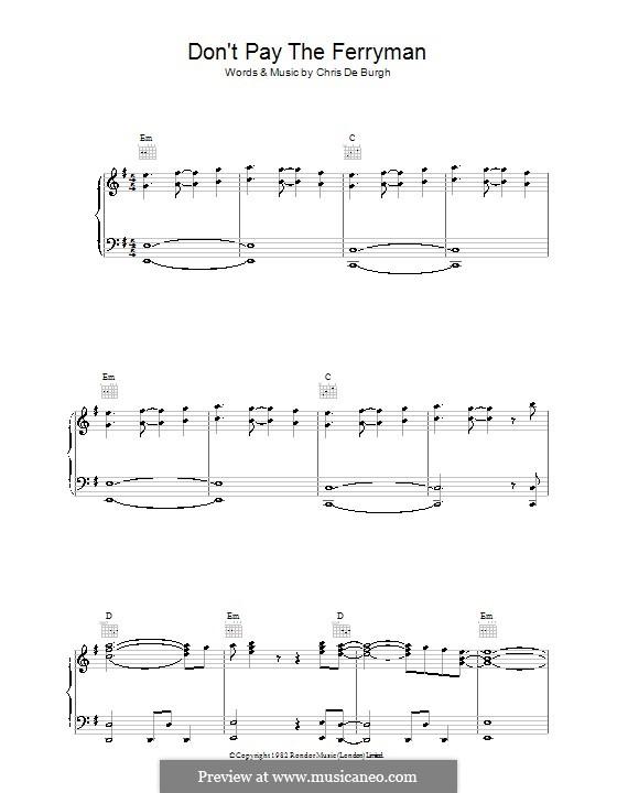 Don't Pay the Ferryman: Para vocais e piano (ou Guitarra) by Chris de Burgh