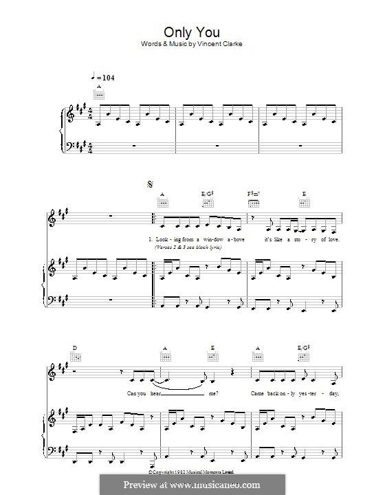Only You (Yazoo): Para vocais e piano (ou Guitarra) by Vince Clarke