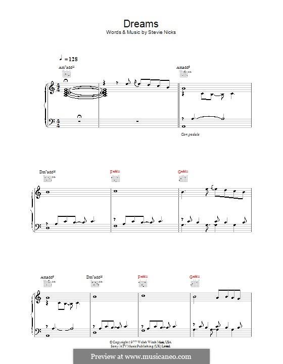 Dreams (Fleetwood Mac): Para vocais e piano (ou Guitarra) by Stevie Nicks