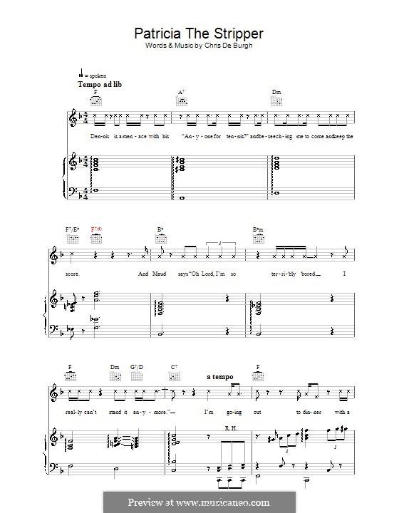 Patricia the Stripper: Para vocais e piano (ou Guitarra) by Chris de Burgh