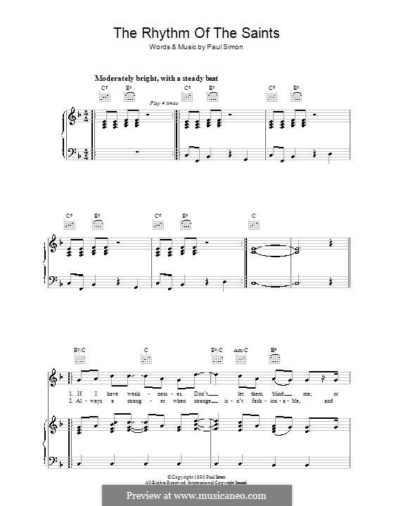 The Rhythm of the Saints: Para vocais e piano (ou Guitarra) by Paul Simon