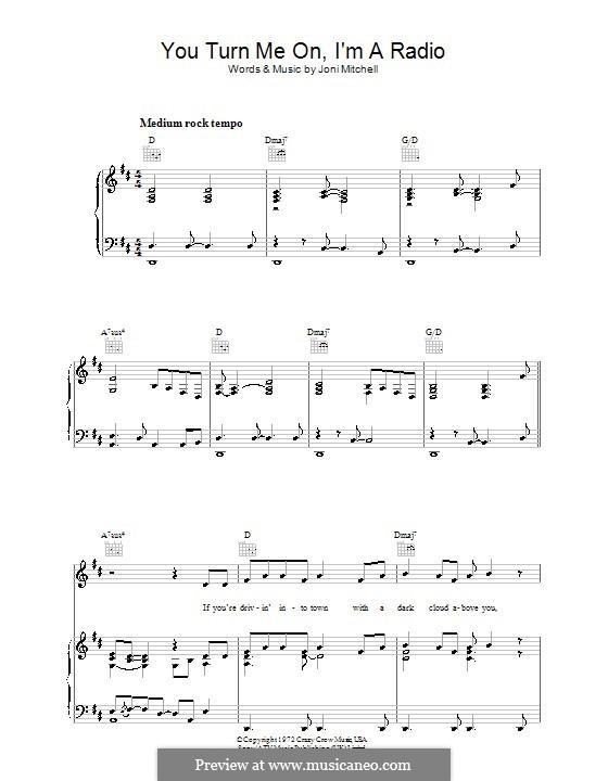 You Turn Me on I'm a Radio: Para vocais e piano (ou Guitarra) by Joni Mitchell