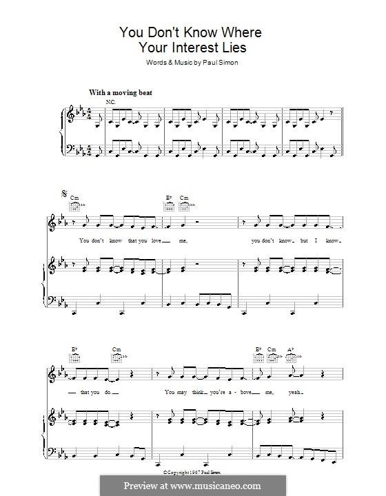 You Don't Know Where Your Interest Lies: Para vocais e piano (ou Guitarra) by Paul Simon