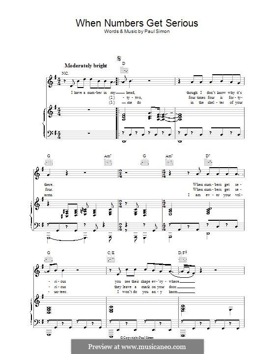 When Numbers Get Serious: Para vocais e piano (ou Guitarra) by Paul Simon