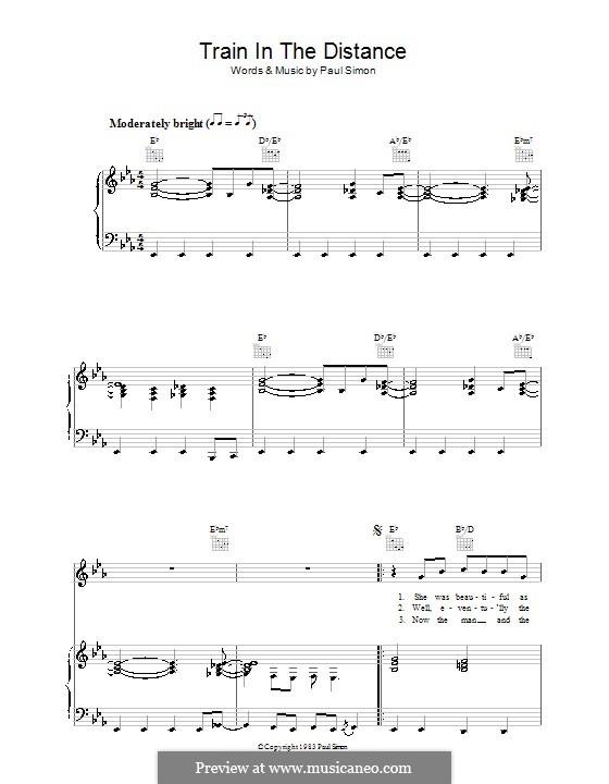 Train in the Distance: Para vocais e piano (ou Guitarra) by Paul Simon