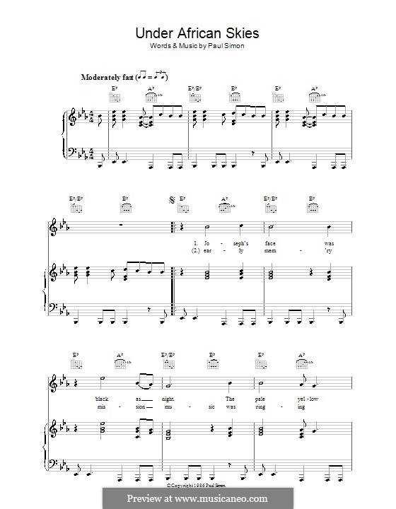 Under African Skies: Para vocais e piano (ou Guitarra) by Paul Simon