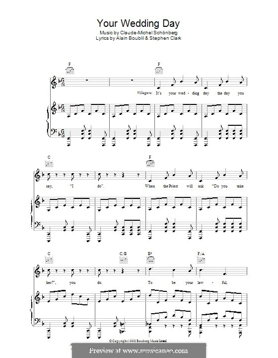 Your Wedding Day: Para vocais e piano (ou Guitarra) by Claude-Michel Schönberg