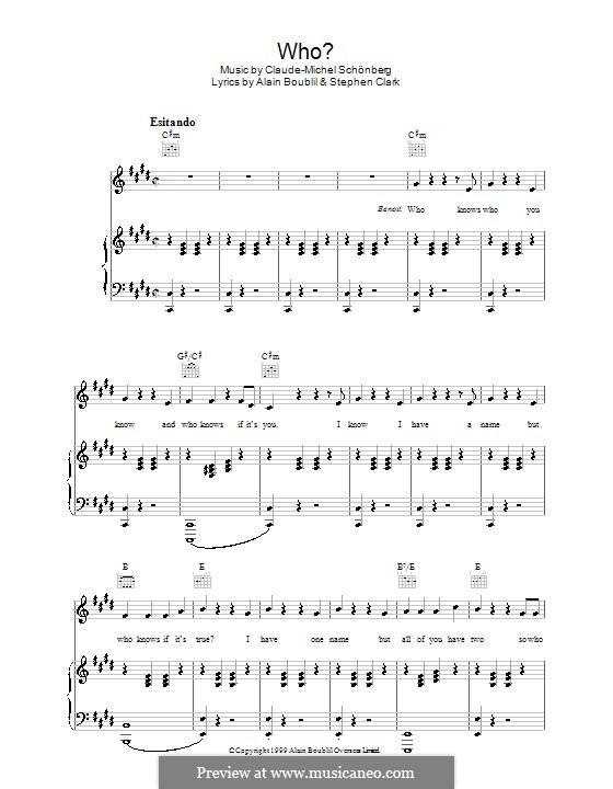 Who: Para vocais e piano (ou Guitarra) by Claude-Michel Schönberg