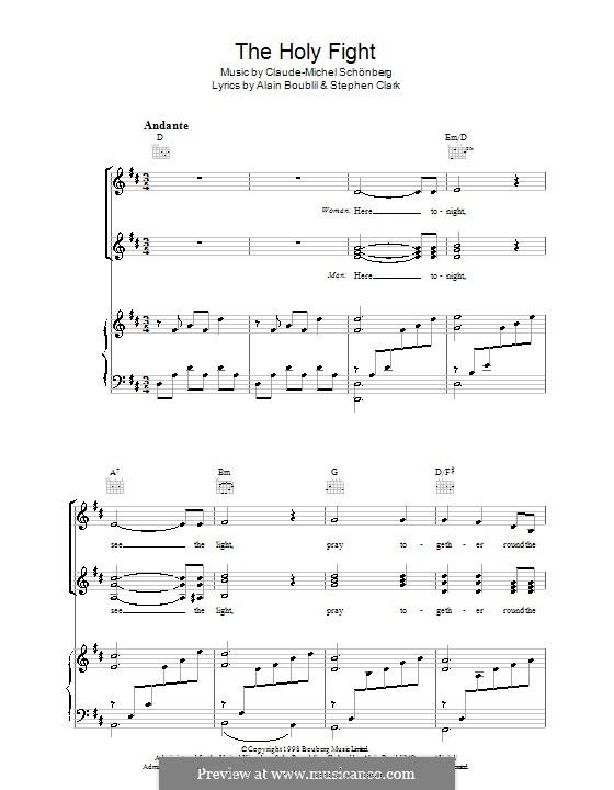 The Holy Fight: Para vocais e piano (ou Guitarra) by Claude-Michel Schönberg