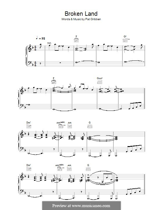 Broken Land (The Adventures): Para vocais e piano (ou Guitarra) by Pat Gribben