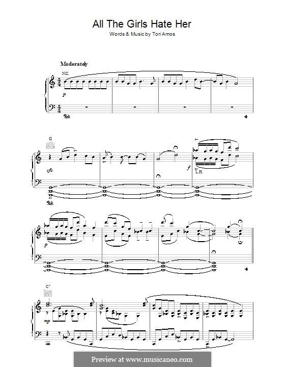 All the Girls Hate Her: Para vocais e piano (ou Guitarra) by Tori Amos
