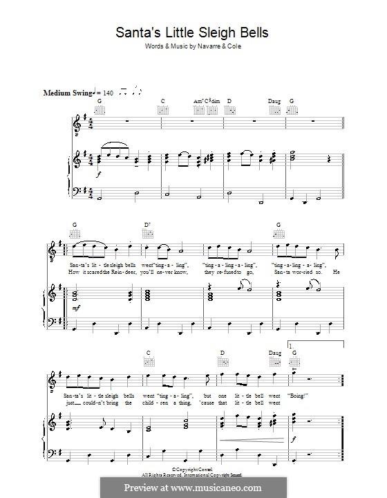 Santa's Little Sleigh Bells (Ruby Wright): Para vocais e piano (ou Guitarra) by Johnny Cole, Ted Navarre