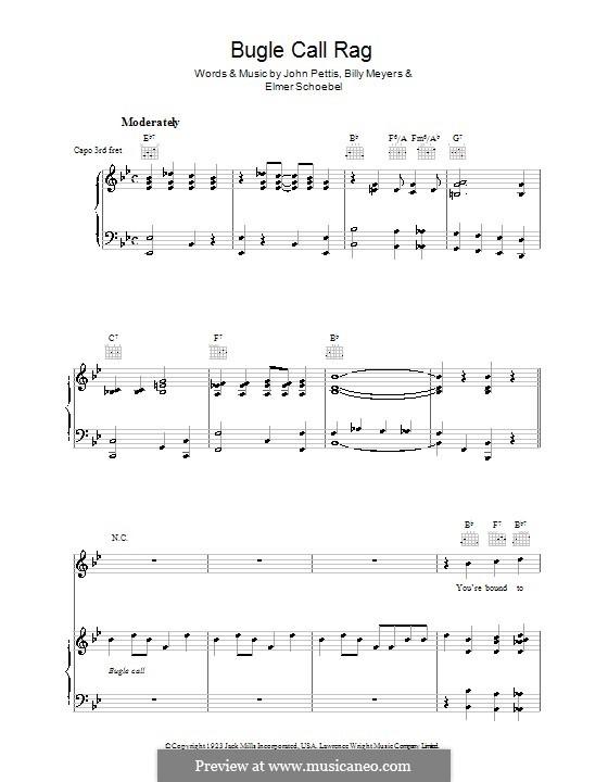 Bugle Call Rag (Benny Goodman): Para vocais e piano (ou Guitarra) by Billy Meyers, Elmer Schoebel, Jack Pettis