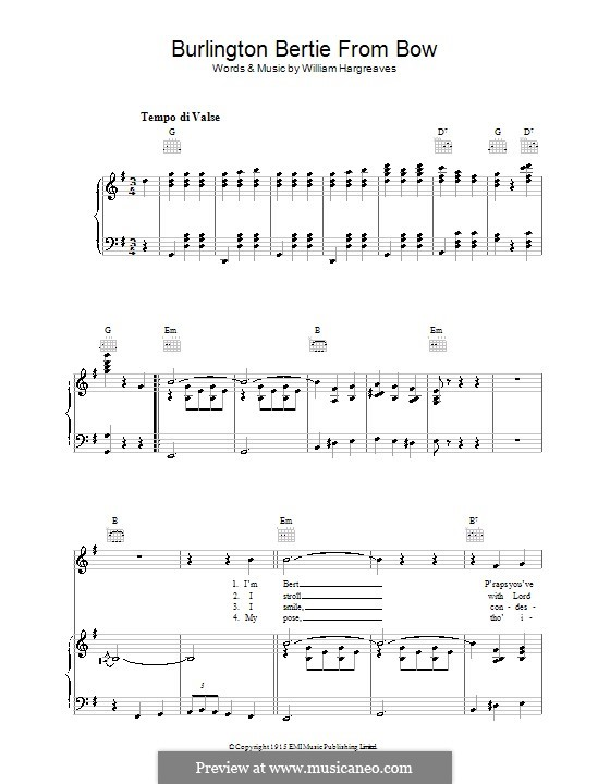 Burlington Bertie from Bow: Para vocais e piano (ou Guitarra) by William Hargreaves