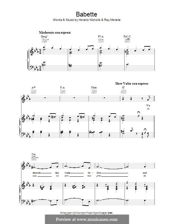 Babette: Para vocais e piano (ou Guitarra) by Horatio Nicholls