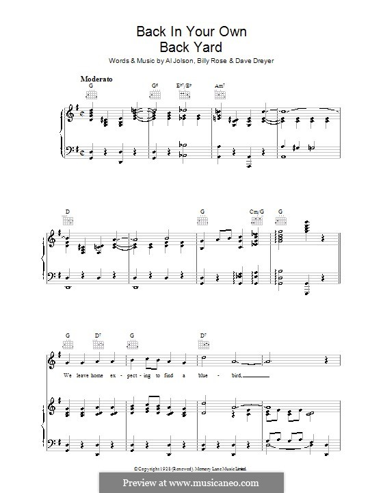 Back in Your Own Back Yard: Para vocais e piano (ou Guitarra) by Dave Dreyer, Billy Rose