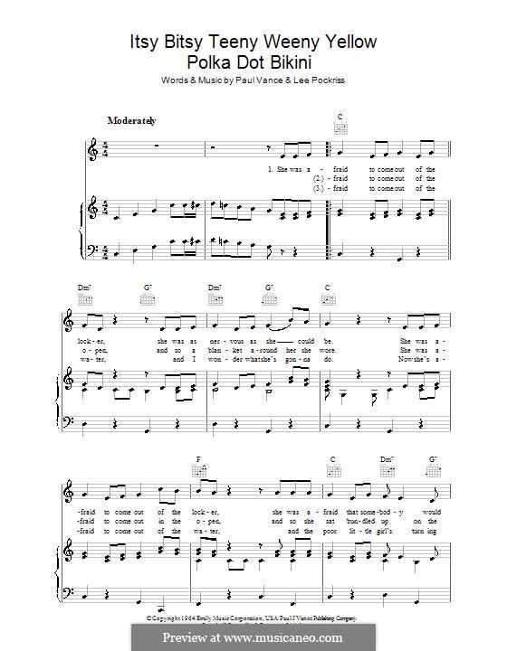Itsy Bitsy Teenie Weenie Yellow Polka Dot Bikini: Para vocais e piano (ou Guitarra) by Lee Pockriss, Paul J. Vance